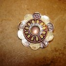 Gold metal cloisonne button purple and yellow.