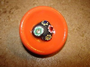 Large wood bowl button with heart, flowers and tiny rhinestones.