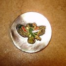 Large mother of pearl button with colorful Japanese pheasant.