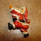 Colorful pewter Christmas Santa brooche pin.