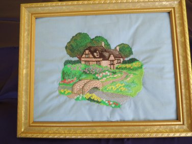 Embroidered artwork English country cottage