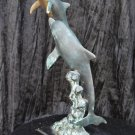 Bronze Sculptor 1950s ''The Dolphin & Her Calve'' Incredible Patina Stunning Out Of Sea Motion