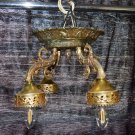 ARCHITECTURAL SALVAGE 1950s HIGHLY RARE FINDS CEILING FACEDOWN CHANDELIER 4ARMS BRASS 15x15x10