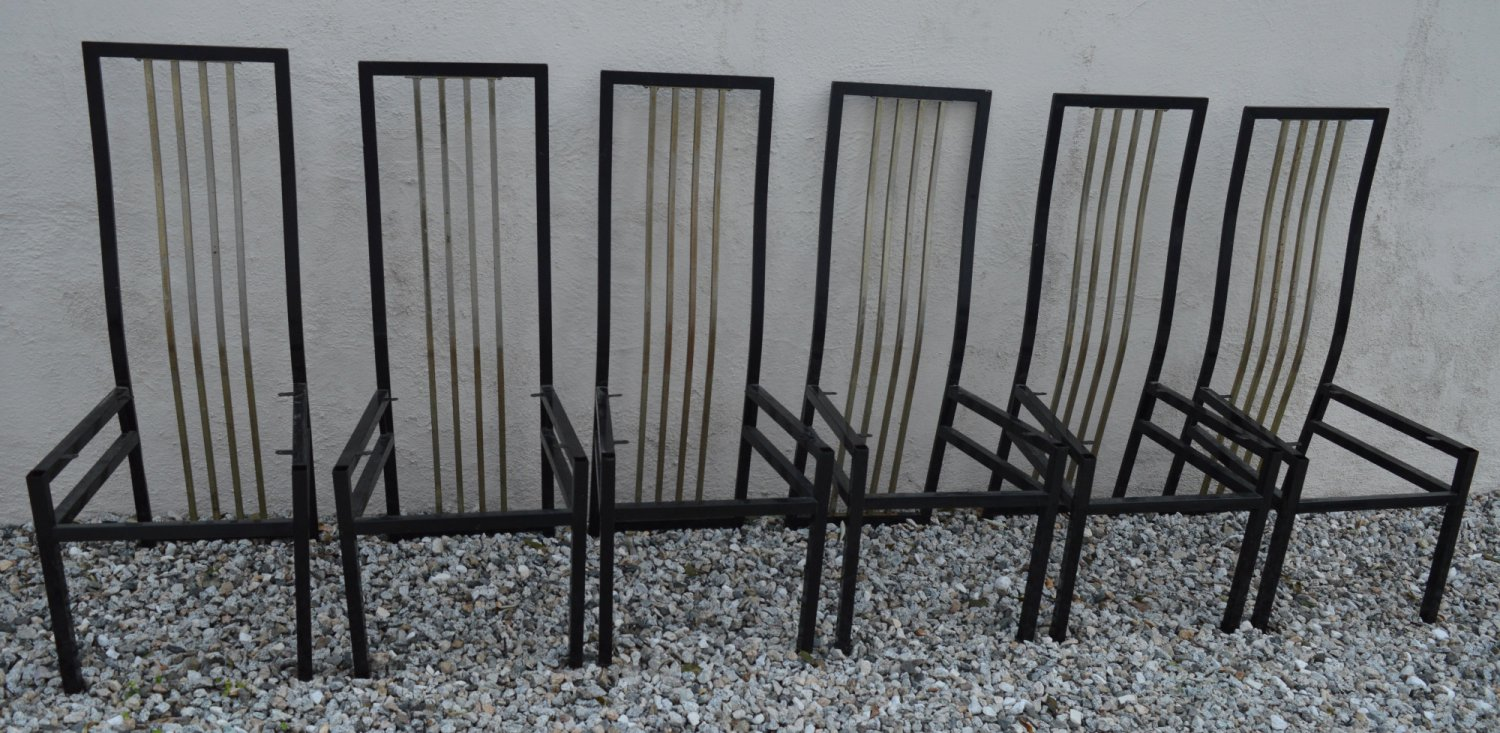 MADE IN ITALY MID CENTURY MODERN 1960s 6 METAL DINING CHAIRS BLACK/BRONZE REFURBISHED DOWN TO SCREWS