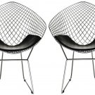 MODERN STYLE  PAIR OF STAINLESS STEEL  MESH SHELL  CLUB CHAIRS  MINIMAL UPHOLSTERY