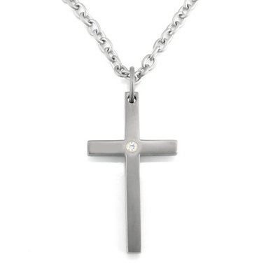 Titanium Cross Pendent With Diamond And Chain