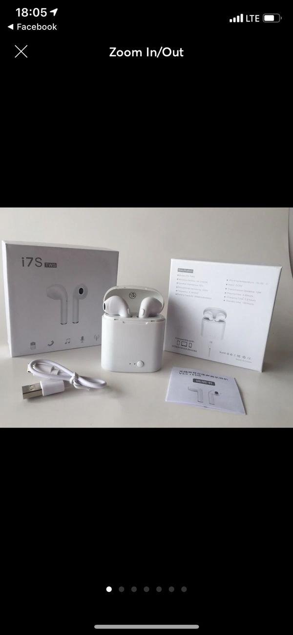 White wireless Bluetooth headphones earbuds audifonos I7s