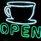"OPEN Coffee Cup Neon Light Sign Bar Pub Restaurant Car Dealer 16""x 14"