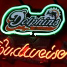 "New Budweiser Beer Miami Dolphins Neon Light Sign 14""x8""[High Quality]"