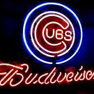 "Brand New Budweiser Beer Chicago Cubs MLB Neon Light Sign 16""x15"" [High Quality]"