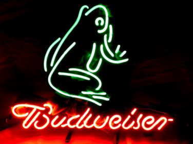 "Brand New Budweiser Frog enjoy Beer Neon Light Sign 16""x 15"" [High Quality]"