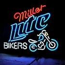 "Brand New MILLER LITE Bikers Neon Light Sign 16""x 15"" [High Quality]"