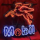 "Mobil Gas Logo Real Glass Neon Beer Light Sign 16""x 14"" [High Quality]"