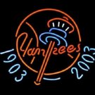 "New Sports New York Yankees 1903 2003 Logo Beer Bar Neon Light Sign 19""x 15"" [High Quality]"