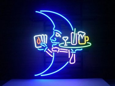 """Brand New Blue Moon Beer Waiter Playing Cards Neon Light Sign 18""""x 16"""" [High Quality]"""