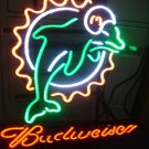 "Brand New Budweiser Beer NFL Miami Dolphins Neon Light Sign 16""x15"" [High Quality]"