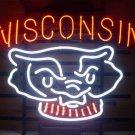 "Brand New Wisconsin Badgers Bucky Badger Beer Bar Neon Light Sign 18""x 16"" [High Quality]"