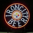 "Brand New Iron City Pittsburgh Steelers NFL Football Light Sign 18""x 16"" [High Quality]"