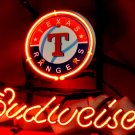 "Brand New BUDWEISER BEER Brewery Texas Rangers Beer Bar Neon Light Sign 14""x 8"" [High Quality]"