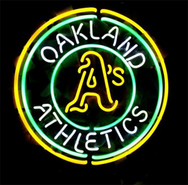 "Brand New MLB Oakland Athletics Baseball Beer Bar Pub Neon Light Sign 16""x 16"" [High Quality]"
