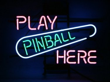 "Brand New Play Pinball Here Game Room Beer Bar Neon Light Sign 16""x 13"" [High Quality]"