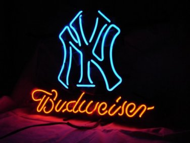 "Brand New Budweiser MLB New York Yankees Beer Neon Light Sign 16""x 14"" [High Quality]"