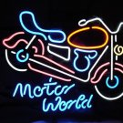 """Brand New Motor World Motorcycle Beer Neon Light Sign 17""""x 15"""" [High Quality]"""