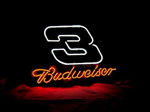 "Brand New BUDWEISER Beer Nascar 3 Racing Neon Sign 17""x 15"" [High Quality]"