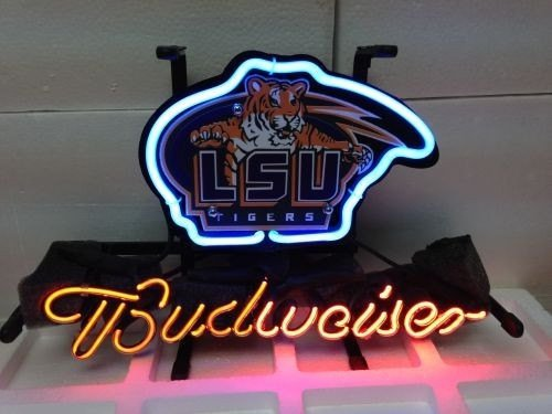 "Brand New Budweiser LSU Tigers Sports Logo Beer Bar Pub Neon Light Sign 14""x 8"" [High Quality]"
