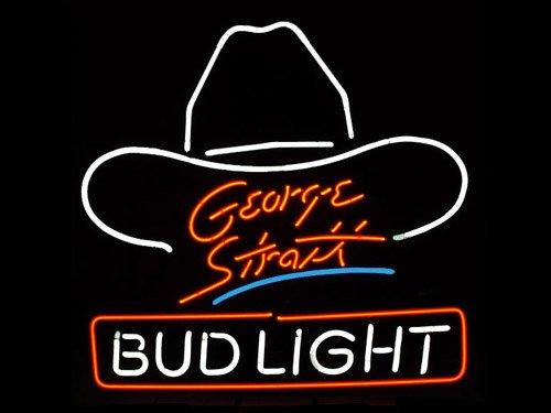 "Brand New Bud Light George Strait Beer Neon Light Sign 16""x 15"" [High Quality]"