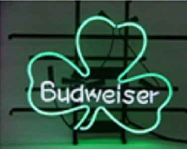"Brand New BUDWEISER Lucky Leaf Shamrock Beer Bar Pub Neon Light Sign 16""x14"" [High Quality]"