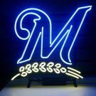 "Brand New MLB Milwaukee Brewers Bar Pub Neon Light Sign 16""x 16"" [High Quality]"