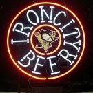 "Brand New Pittsburgh Penguins Iron City Beer Bar Pub Real Light Sign 18""x16"" [High Quality]"