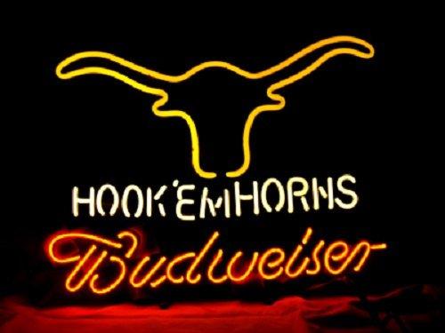 """Brand New Budweiser Hook Em' Horns Beer Neon Light Sign 16""""x 14"""" [High Quality]"""