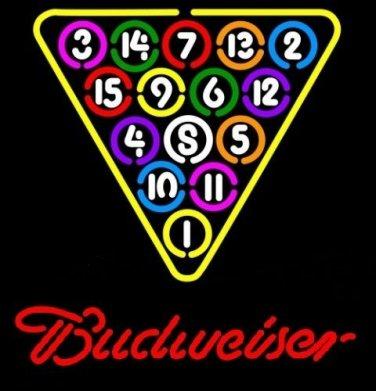 """Brand New Budweiser Snooker Billiard Beer Bar Pub Neon Light Sign 16""""x 15"""" [High Quality]"""