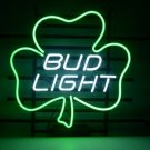 "Brand New Bud Light Lucky Leaf Shamrock Neon Light Sign 16""x 14"" [High Quality]"
