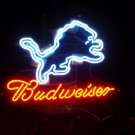 "Brand New NFL Detroit Lions Budweiser Neon Light Sign 16""x15"" [High Quality]"