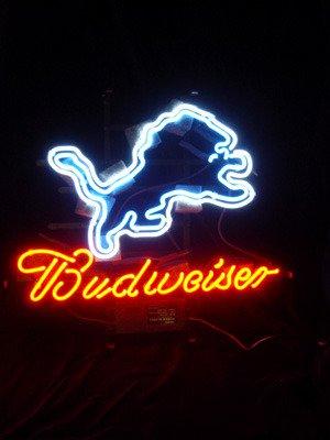 """Brand New NFL Detroit Lions Budweiser Neon Light Sign 16""""x15"""" [High Quality]"""