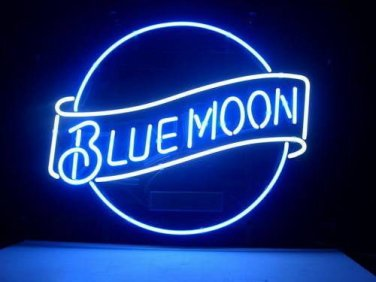 "Brand New Blue Moon Beer Bar Real Glass Tube Neon Light Sign 16"" x16"" [High Quality]"