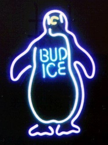 """Brand New Penguin Bud Ice Beer Neon Light Sign 16""""x14"""" [High Quality]"""