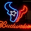 "Brand New Budweiser Beer NFL Houston Texans Beer Bar Neon Light Sign 16""x15"" [High Quality]"