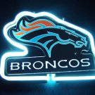 "Brand New NFL Denver Broncos Football Bar 3D White Beer Neon Light Sign 10""x6"" [High Quality"