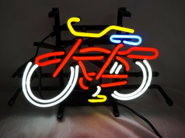 """New Belgium Fat Tire Bicycle White Beer Bar Real Neon Light Sign 13""""x9"""