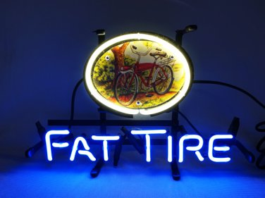 """Brand New Fat Tire Bicycle 3D Real Neon Light Sign 13""""x9"""" [High Quality]"""