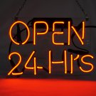 "'Open' 24 Hours Beer Bar Pub Decor Windows Art Sign Real Neon Light Sign 12""x10"""