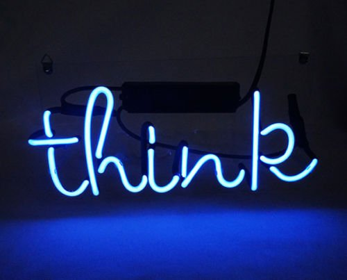 """'Think' Beer Bar Decoration Display Real Glass Tube Neon Light Sign 12""""x7"""""""