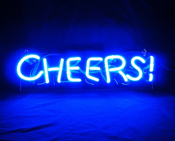 "Handmade 'Cheers' Wedding Beautiful Banner Art Light Neon Sign 13""x4"""