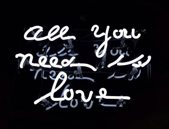 """'All you need is love' White Art Light Banner Wedding Table Sign Real Neon Light Sign 11""""x7"""""""