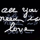 "'All you need is love' White Art Light Banner Wedding Table Sign Real Neon Light Sign 11""x7"""