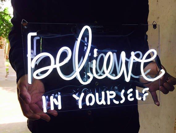 "New 'Believe in yourself' Wedding Sweet Lovely Art Sign Handmade Neon Sign 11""x7"""